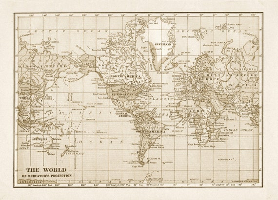 Rustic World Map Printable File Download Digitally Altered Large - Large sepia world map
