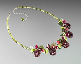 Boysenberry Necklace, adjustable length w lobster clasp.  Fruit necklace w glass boysenberries, lampwork glass beads and crystals