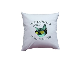 Apericots Have Yourself A Meowy Little Christmas Cute Holiday Pun Kitty Cat Home Décor Pillow Cover