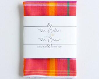 Pocket Square, Handkerchief, Mens Pocket Square, Boys Pocket Square, Wedding Pocket Squares - Fuchsia/Orange/Teal Madras Plaid