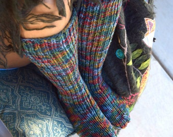 Long socks multicoloor womens socks hand knit leg warmers handmade below the knee socks winter socks knee high socks Christmas gift for her
