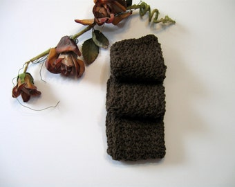 Brown Crochet Dishcloths, Set of 3,  100% Cotton,  8 1/4 inches by 8 1/4 inches