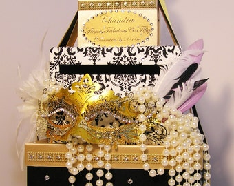 4 tier Wedding Card Box  Masquerade wedding card box Feathers Gift Card Box Money Box Holder--Customize your color