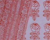 Marimekko vintage Ruusunmarja fabric orange and white Maija Isola  1969