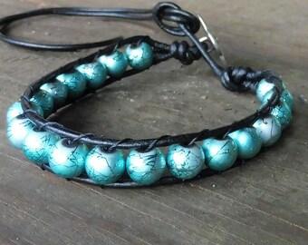 Aqua Beaded Wrap Bracelet - Single Wrap Bracelet, Painted Aqua Glass Beads, Black Leather Bracelet
