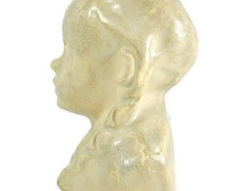 Vintage 1938 Art Sculpture Girl with Braids clay bust Bookshelf Art