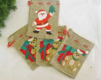 Collection of Four (4) Vintage Burlap Christmas Sacks, Small Decorated Bags Felt Santa Claus Teddy Bear with Present, Pull Red Cord