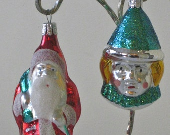 Pair Vintage Czechoslavakia Christmas Tree Hanging Ornaments, Santa Claus with sugar mica beard and trim, Clown with Blue green Glitter Cap