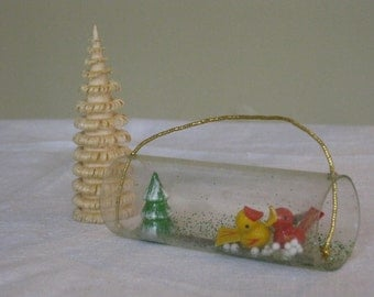 Vintage Carved Mini Wood Christmas Ornaments, Miniature Curled Wood Tree, Small Tree with Two birds in Glass Cylinder Tube, Hanging Ornament