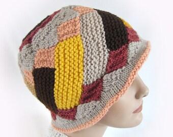 Woman's Colorful Knit Hat Autumn Colors Knit Hat Knit Winter Hat Patchwork Knit Hat Art Hat Earth Tone Girls Knit Hat Knit Patchwork Cloche