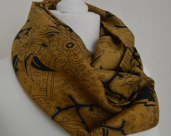 Camel Black Floral Sari Pure Silk Infinity Scarf - Eternity Scarf - Loop Scarf - Circle Scarf - Unique Gift - Boho Chic - CMCISA0179