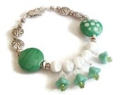 Teal Lampwork  Glass Bead Bracelet. Polka Dot. Czech Glass Flowers. Whimsical. OOAK.