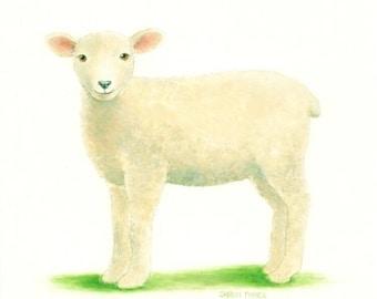 "LAMB PAINTING Sheep Art Animal Painting Watercolor Farm Art Original Fine Art 8 x 10"" by Sharon France  Nursery Art Illustration Painting"