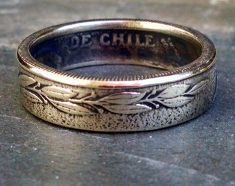 Brass Coin Ring - Chile Coin Ring One Peso - Size: 7 1/2