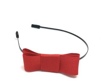 Red Bow Headband - Metal Headband with Bow - Big Girl Headband, Tween Headband, Adult Headband, Side Bow Metal Headband