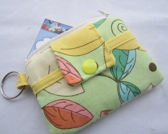 Zipper Mini Wallet Pouch Key Chain Card holder - Flowers Green Yellow Leaves
