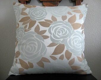 Blue roses, designer fabric, decorative pillow cover