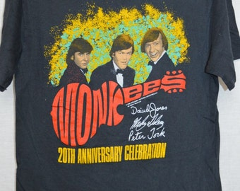 Vintage THE MONKEES Band T-shirt Shirt Rock 20th Anniversary Concert Tour