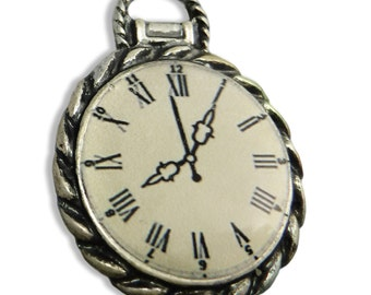 2 pcs Steampunk Clock Charms Cast Pocket Watch Antique Silver Casting M-111