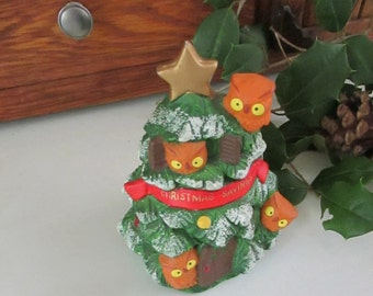 "Owls Christmas Tree Bank – ""Christmas Savings"" Ceramic Bank by Enesco – Vintage Christmas Collectible Bank"