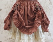 Steampunk stripped brown and off white stretch skirt