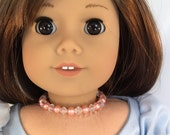 American Girl Sized Choker Necklace with Pink Pearls and Crystals