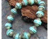 Creamy Turquoise Mint Turbine Picasso 11x10mm Czech Glass Beads