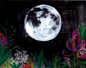 60% Off SALE - New Moon -  Watercolor Painting - Night - Flowers - Garden - 11x14 Giclee Print - Drawing - Illustration