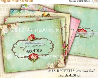 SALE 30% OFF - Ma Jolie Recette ATC Cards - set of 12 - shabby chic Cards - digital collage sheet - Printable Download - Collectibles - Reci