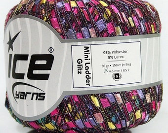 MINI GLITZ ice ladder ribbon yarn LUREX Yellow Silver Pink Mint Green Lilac Trellis 1 skein knitting crochet daily bulky chunky 41716