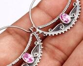 Sale, Slavic Style Pink Kunzite Earrings, 925 Silver, Kievan Russ Hoops