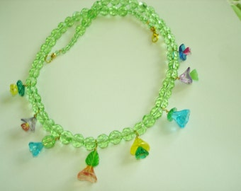 Flowers Green Crystal Flower Multi Tone Necklace