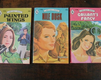 Vintage Harlequin Romance Novels, Lot of Three Paperback Books, Red edges, Clean smooth covers
