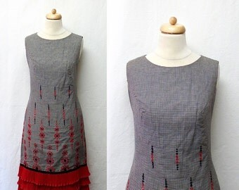 1970s Vintage Embroidered Gingham Dress / Black White Red Dress