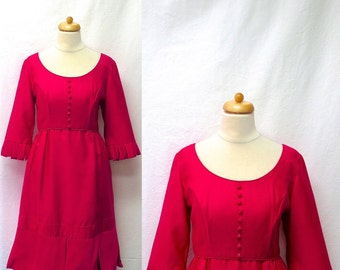 1960s Vintage Emma Domb Silk Dress / Shocking Pink Fringe Dress