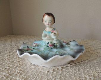 Young Girl in Blue Dress Ceramic Three Lipstick Holder. Girl Figurine Holding Flowers Vanity Lipstick Holder. Bathroom Decor.