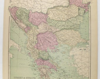 Old 1873 Turkey in Europe Map, Greece, Greek Islands Map Balkan Peninsula, Turkey Gift for Friend, Greece Gift for Him, Vintage Map Turkey