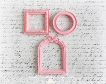 Shabby Chic Resin Frames for Scrapbooking, Cardmaking, Altered Art, Mixed Media, Mini Albums,pink