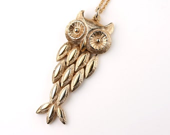 Movable Gold Owl Pendant, Antique Owl Jewelry, Long Gold Chain, Vintage Pendant, Whimsical Pattern Necklace, Large Bird Necklace