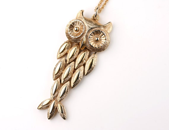 Movable Gold Owl Pendant, Vintage Owl Necklace, Whimsical Owl Jewelry Long Gold Chain, Antique Pendant, Patterned Large Bird