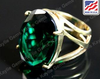 Big Over Sized Cocktail Statement Finger Ring Emerald Glass Jewel Gem Sterling Silver Plated, Polished Brass, Rose Gold