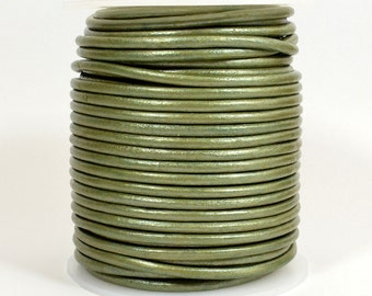 3mm Indian Leather - Metallic Olive Green - 3MR-248 - Choose Your Length