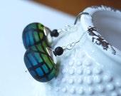 Green Earrings, Lampwork Glass Bead Earrings, Ombre' Earrings, Grid Earrings, Drop Earrings, Stained Glass Earrings