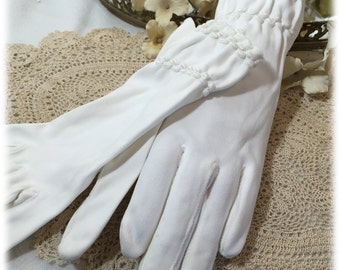 Vintage Ladies White Gloves Sheered Band,  Size 7 1/2, W Germany, Spring Gloves