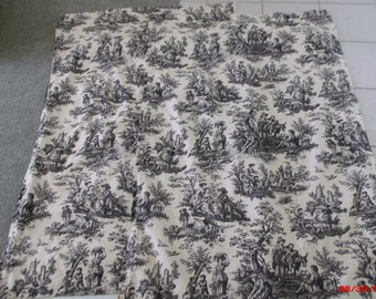 Pair Black Country French Toile Rod Pocket Curtain Panels Waverly Country Life