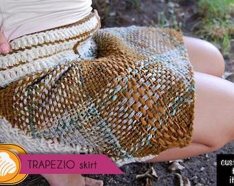 Trapezio beige tones short tartan woolen skirt customizable