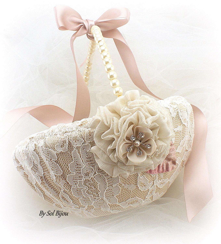 Flower Girl Basket Blush : Flower girl basket ivory blush champagne tan elegant