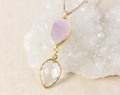 50% OFF SALE - Crystal Quartz and Pink Druzy Necklace – 14K Gold Filled