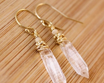 25% OFF Crystal Quartz Point Earrings - Clear Point Jewelry - 14K GF