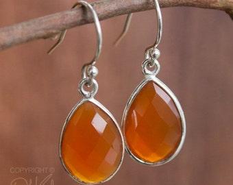 25% OFF Silver Red Carnelian Teardrop Earrings - Gemstone Earrings